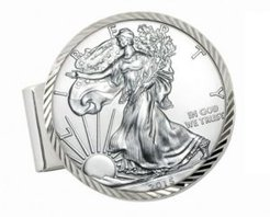 Sterling Silver Diamond Cut Coin Money Clip with American Silver Eagle Dollar