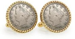 Liberty Nickel Rope Bezel Coin Cuff Links