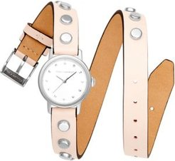 Bffl Silver-Tone Stud & Blush Double Wrap Leather Strap Watch 25mm