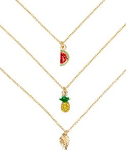 "Gold-Tone 3-Pc. Set Pave Pineapple Pendant Necklaces, 16"" + 3"" extender"