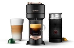 Vertuo Next Premium Coffee and Espresso Maker by DeLonghi, Black Rose Gold with Aeroccino Milk Frother