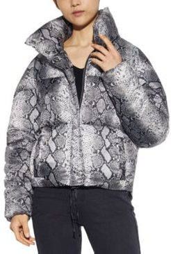 Sabrina Python-Printed Puffer Coat, Created for Macy's
