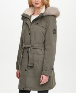 Belted Faux-Fur-Trim Hooded Water-Resistant Anorak