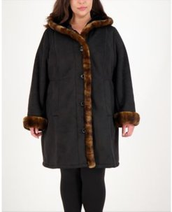 Plus Size Hooded Faux-Shearling Coat