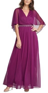 Petite Beaded Faux-Cape Gown