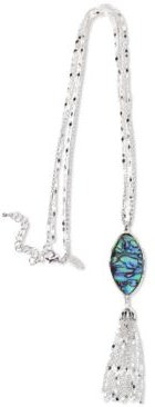 """Silver-Tone Stone & Chain Tassel Long Pendant Necklace, 32"""" + 3"""" extender, Created for Macy's"""