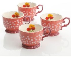 Life On The Farm 4 Piece 20 Ounce Durastone Footed Cup Floral Set