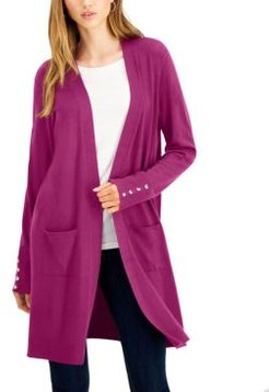 Button-Sleeve Duster Cardigan