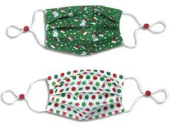 Kids Cotton Reversible Santa Hat Pleated Face Mask, 2 Pack