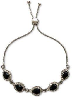 Silver-Tone Pave & Pear-Shaped Crystal Slider Bracelet, Created for Macy's