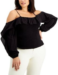 Inc Solid Cold-Shoulder Top, Created for Macy's