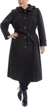 Plus Size Hooded Maxi Trench Coat