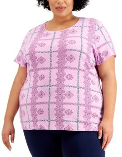 Plus Size Lace-Print Plaid Top, Created for Macy's