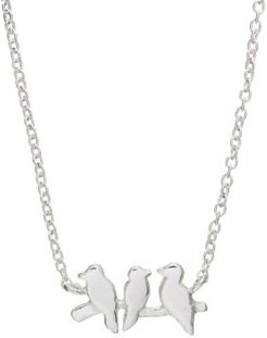 """Mini Bird Pendant Necklace in Sterling Silver, 16"""" + 2"""" extender"""