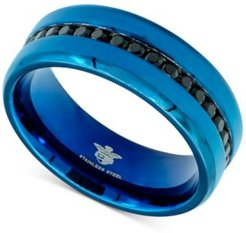 Black Cubic Zirconia Band in Blue Ion-Plated Stainless Steel