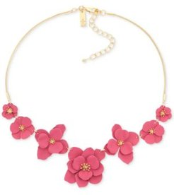 """Inc Gold-Tone Painted Flower Statement Necklace, 17"""" + 2"""" extender, Created for Macy's"""