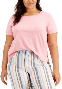 Plus Size Ribbed-Knit Sleep T-Shirt, Created for Macy's