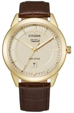 Eco-Drive Men's Corso Brown Leather Strap Watch 40mm