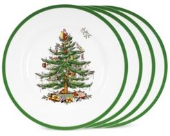 Closeout! Spode Christmas Tree Dinner Plates, Set of 4