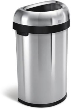 Brushed Stainless Steel 60 Liter Semi Round Open Trash Can