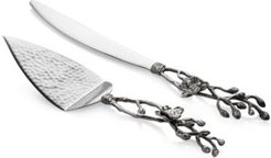 White Orchid Cake Knife and Server