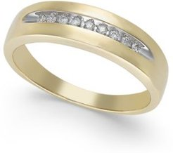 Diamond Brushed Band in 10k Gold (1/10 ct. t.w.)
