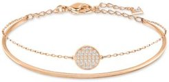 Ginger Gold-Tone Polished and Pave Bangle Bracelet