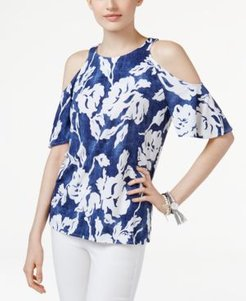 Inc Floral-Print Cold-Shoulder Top, Created for Macy's