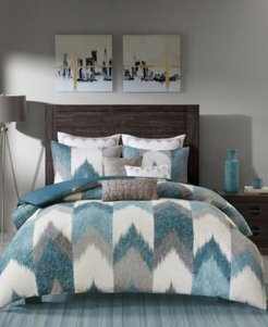 Closeout! Ink+Ivy Alpine Cotton Reversible King Chevron Stripe Print Duvet Mini Set Bedding