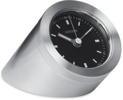 Workplace Silver-Tone Metal Cylindrical Clock
