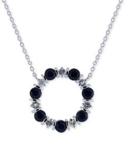 """Blue Sapphire (2 ct. t.w.) & White Sapphire (3/4 ct. t.w.) 16"""" Pendant Necklace in Sterling Silver"""