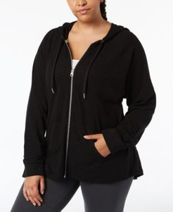 Performance Plus Size Ruched-Sleeve Zip Hoodie