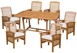 7-Piece Acacia Wood Outdoor Patio Dining Set with Cushions - Brown
