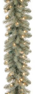 """National Tree 9'x12"""" """"Feel Real"""" Down Swept Douglas Blue Garland with 70 Clear Lights"""
