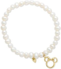 Children's Cultured Freshwater Pearl (4mm) Minnie Mouse Charm Stretch Bracelet in 14k Gold
