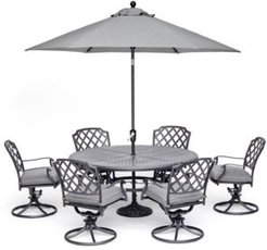 """Grove Hill Ii Outdoor Cast Aluminum 7-Pc. Dining Set (61"""" Round Table & 6 Swivel Chairs) With Sunbrella Cushions, Created for Macy's"""