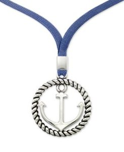 """Smith Anchor & Blue Linen Cord Pendant Necklace in Stainless Steel, 22"""" + 2"""" extender"""