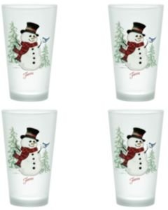 Snowman 16-Ounce Frosted Tapered Cooler Glass, Set of 4