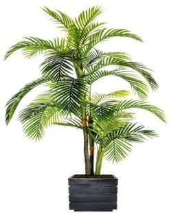 """90"""" Tall Palm Tree Artificial Indoor/ Outdoor Lifelike Faux in Fiberstone Planter"""