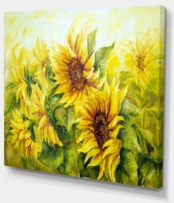 "Designart Bright Yellow Sunny Sunflowers Floral Painting Canvas - 40"" X 30"""