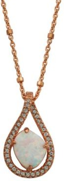 18K Rose Gold over Sterling Silver with Lab Created Opal and Cubic Zirconia Drop Design Pendant