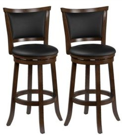 Wood Barstools with Bonded Leather Seat and Backrest, Set of 2