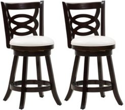 Counter Height Wood Barstools with Leatherette Seat and Circular Design, Set of 2