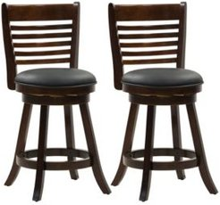 Counter Height Wood Barstools with Bonded Leather Seat and 6-Slat Backrest, Set of 2