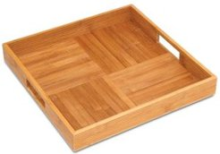 Wooden Bamboo Criss Cross Serving Tray with 2 Cutout Handles