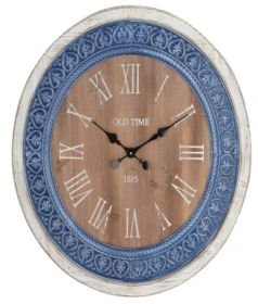 Rustic Distressed Iron and Wood Round Wall Clock