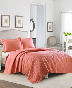 Solid Coral Quilt Set, Full/Queen Bedding
