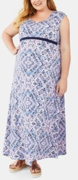 Maternity Plus Size Printed Maxi Dress
