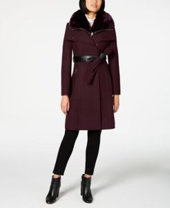 Faux-Fur-Collar Belted Coat with Faux-Leather Trim