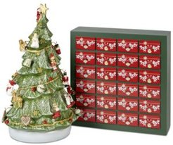 Closeout! Villeroy & Boch Christmas Toys Memory Advent Calendar 3D Tree with Ornaments & Storage Box